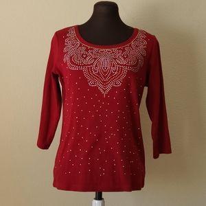 Karen Scott Rust Red Embellished Top Size Small